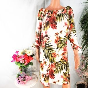 Italian Boutique On/Off Shoulder Floral Tunic